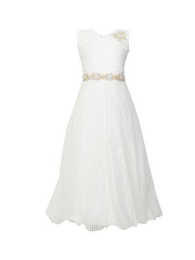 BETTY Girls Off-White Self Design Maxi Dress