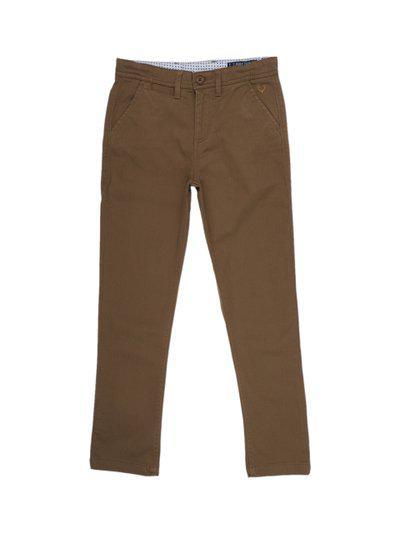 Allen Solly Junior Boys Khaki Regular Fit Solid Regular Trousers