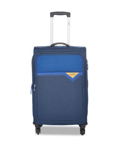 Safari Unisex Blue Colourblocked Cabin Trolley Suitcase