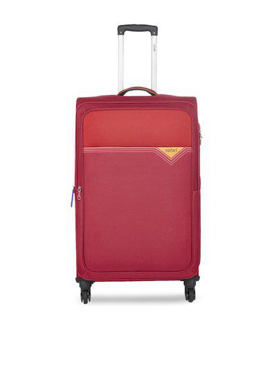 Safari Unisex Red Solid Cabin Trolley Suitcase
