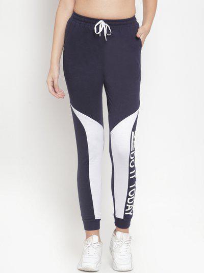 Boston Club Women Navy Blue & White Printed Slim Fit Joggers