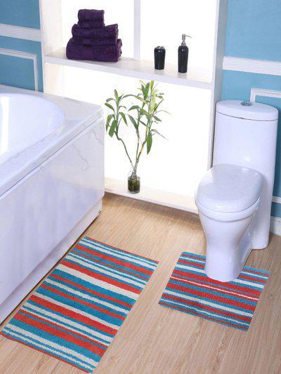 Avira Home Multicoloured Striped Bath Mat With Toilet Mat
