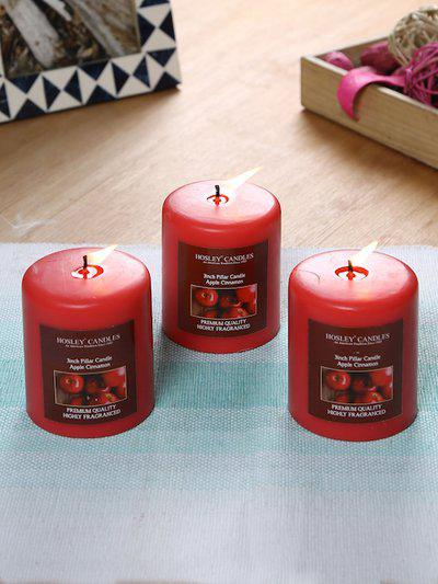 HOSLEY Set of 3 Red Solid Apple Cinnamon Pillar Candles