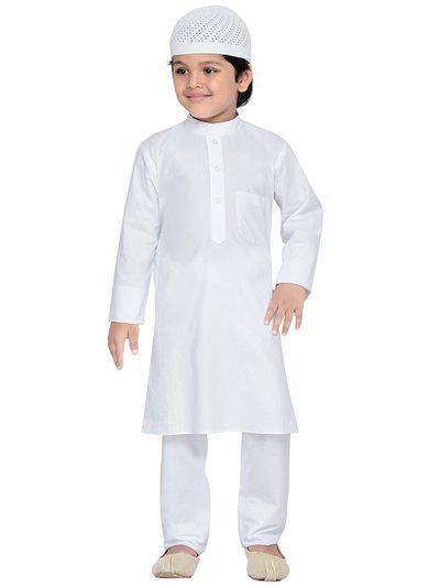 Aj DEZInES Boys White Solid Kurta with Pyjamas & Hat