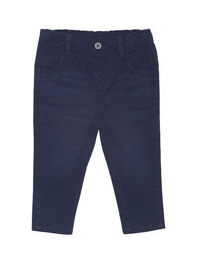 MINI KLUB Boys Navy Blue Regular Fit Solid Regular Trousers