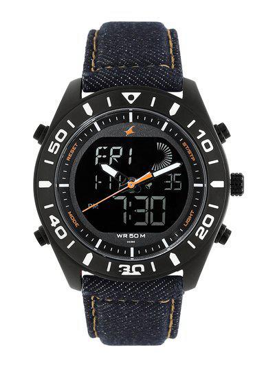 Fastrack Denim Analog-Digital Orange Dial Men s Watch 38034NL01 NN38034NL01