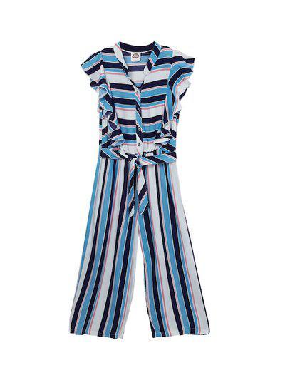 Cub McPaws Girls Blue & White Striped Basic Jumpsuit