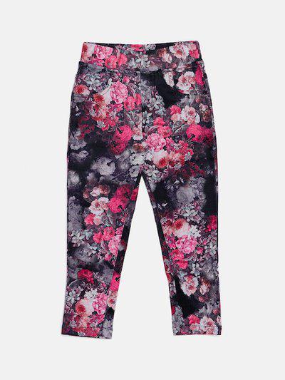 Nins Moda Girls Black & Pink Printed Skinny-Fit Jeggings
