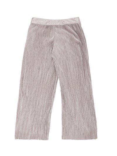 Pantaloons Junior Girls Gunmetal-Toned Regular Fit Self Design Parallel Trousers