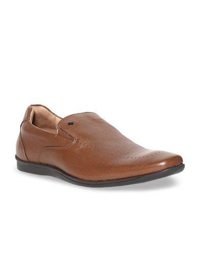 Arrow Men Brown Casual Shoes - BROWN TEXTURED LEATHER SLIP ON SHOES - 2521947019