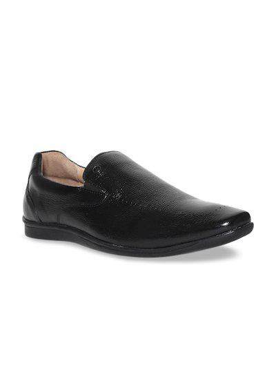 Arrow Men Black Casual Shoes - BLACK TEXTURED LEATHER SLIP ON SHOES - 2521947005