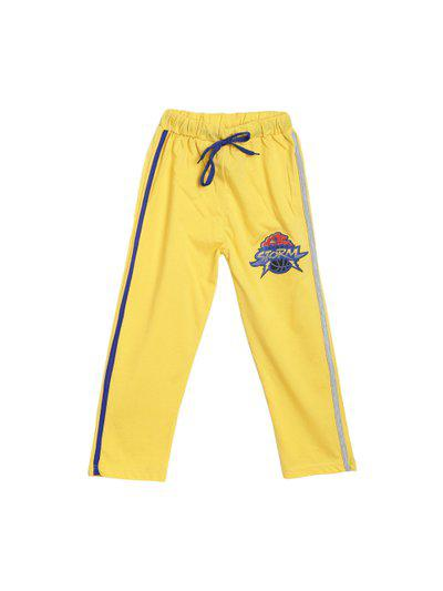 SWEET ANGEL Kids Yellow Solid Straight-Fit Track Pants