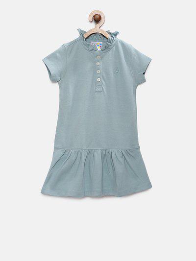 Eimoie Girls Sea Green Solid T-shirt Dress