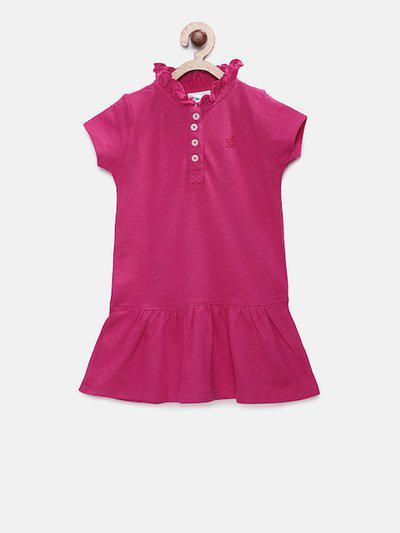 Eimoie Girls Pink Solid T-shirt Dress