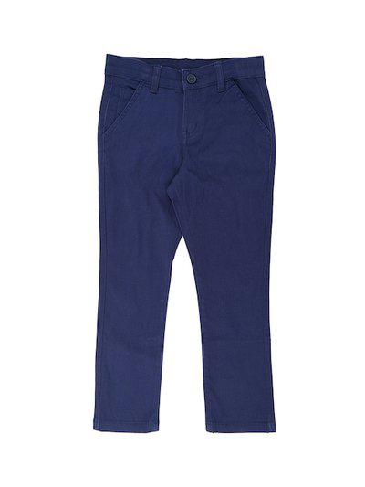 Pantaloons Junior Boys Blue Regular Fit Solid Regular Trousers