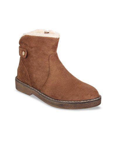 Flat n Heels Women Tan Brown Solid Suede Mid-Top Flat Boots