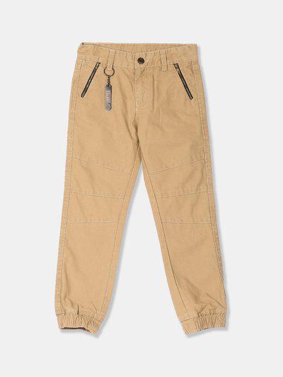 Cherokee Boys Khaki Brown Regular Fit Solid Regular Trousers