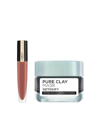 LOreal Paris Set of Matte Liquid Lipstick 116 I Explore & PURE-CLAY Charcoal Face Mask