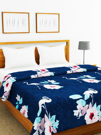 BIANCA Navy Blue Floral AC Room 250 GSM Double Bed Blanket