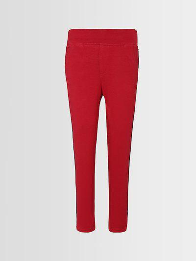 Punkster Girls Red Solid Knitted Jeggings