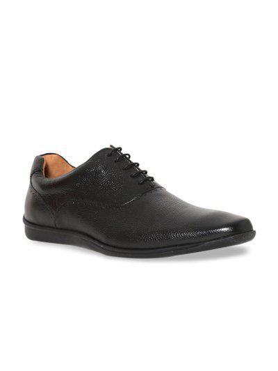 Arrow Men Black Solid Semi-Formal Leather Barber Oxfords