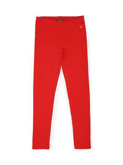 Allen Solly Junior Girls Red Solid Leggings