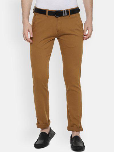 Allen Solly Men Brown Slim Fit Solid Regular Trousers