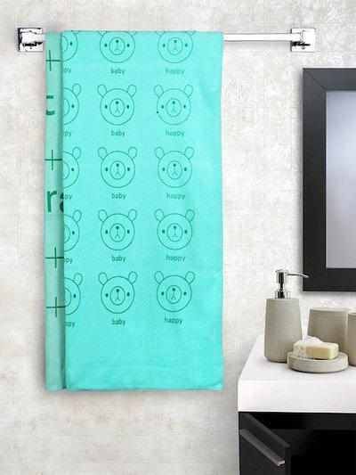 Cortina Unisex Set of 2 Sea Green Printed 300 GSM Bath Towels