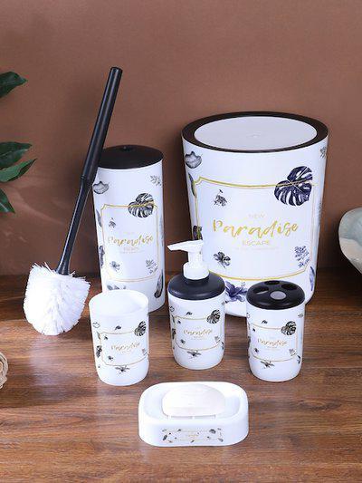 Cortina Unisex Set Of 6 White and Black Printed Bathroom Accessories