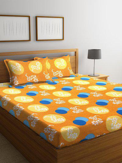 MAFATLAL Yellow & Turquoise Blue Floral 144 TC Cotton 1 King Bedsheet with 2 Pillow Covers