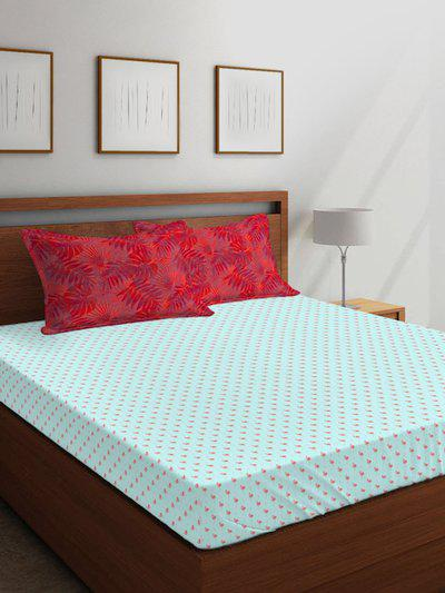 Boutique Living India Blue Conversational 350 TC Cotton 1 King Bedsheet with 2 Pillow Covers