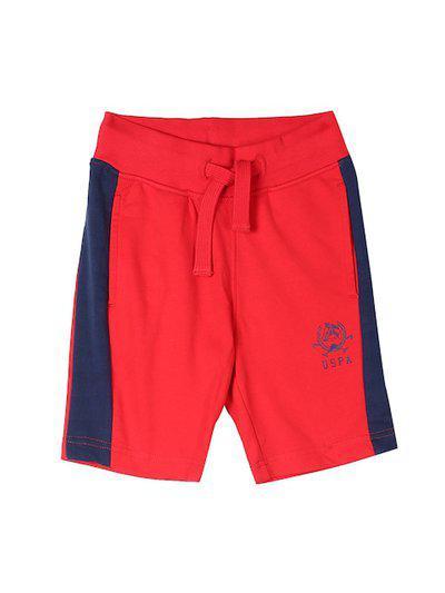 U.S. Polo Assn. Infant Red & Navy Blue Colourblocked Regular Fit Regular Shorts