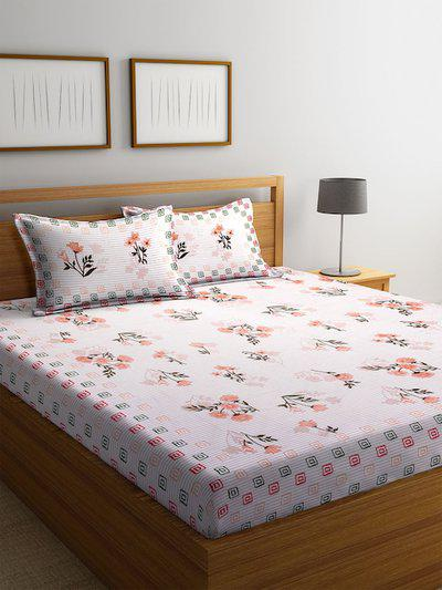 DREAM WEAVERZ White & Beige Floral 300 TC Cotton 1 Queen Bedsheet with 2 Pillow Covers