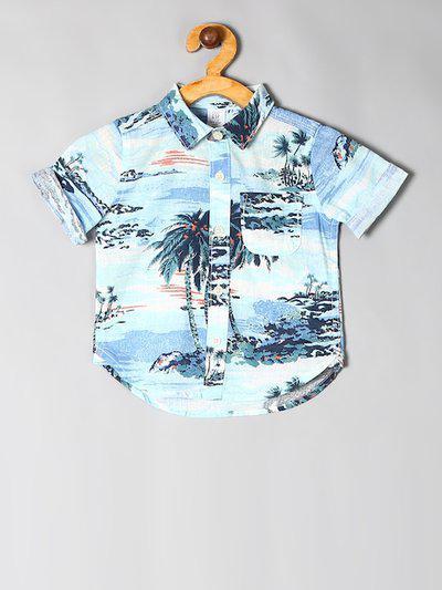 GAP Baby Blue Printed Short Sleeve Shirt In Linen