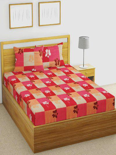 URBAN SPACE Red and Beige Floral 104 TC Cotton 1 Queen Bedsheet with 2 Pillow Covers