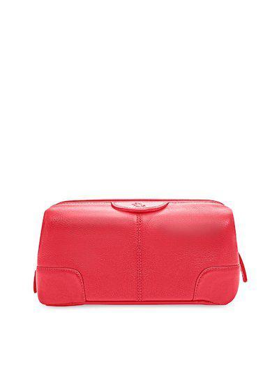 Kara Unisex Red Solid Obama Travel Leather Toiletry Kit