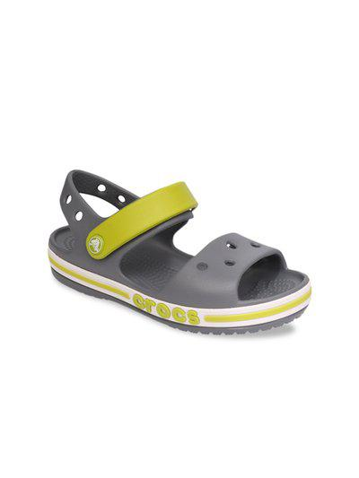 Crocs Unisex Kids Grey & Green Comfort Sandals