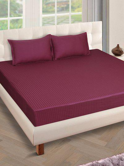 ROMEE Burgundy Striped 250 TC Cotton 1 King Bedsheet with 2 Pillow Covers
