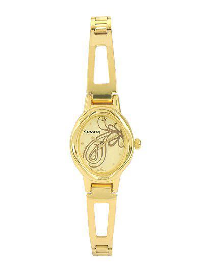 Sonata Women Yellow Dial Watch 8085YM01