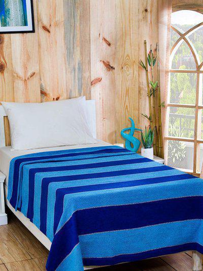 MASPAR Blue Cotton and Viscose Striped Single Bed Cover