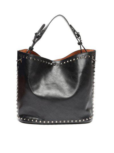 Roadster Black Studded Shoulder Bag