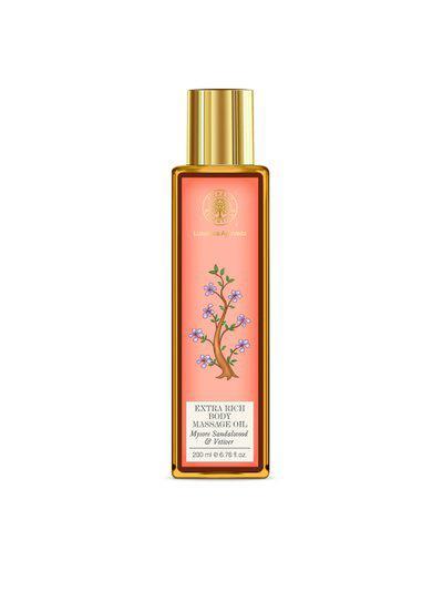Forest Essentials Handmade Rich Almond Mysore Sandalwood & Vetiver Body Massage Oil 200 ml