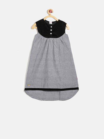 Lil Orchids Girls Black & Grey Colourblocked A-Line Dress