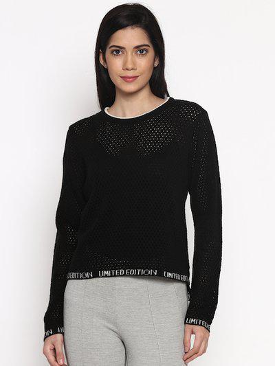 SF JEANS by Pantaloons Women Black Self Design High-Low Top