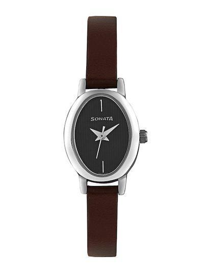 Sonata Women Black Dial Watch 8100SL02