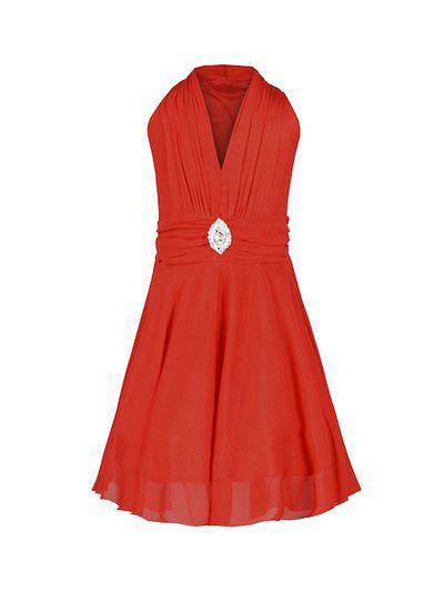 Aarika Girls Red Solid Maxi Dress
