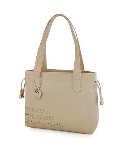 Butterflies Cream-Coloured Solid Shoulder Bag