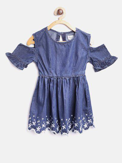 Pepe Jeans Girls Blue Chambray Fit & Flare Dress