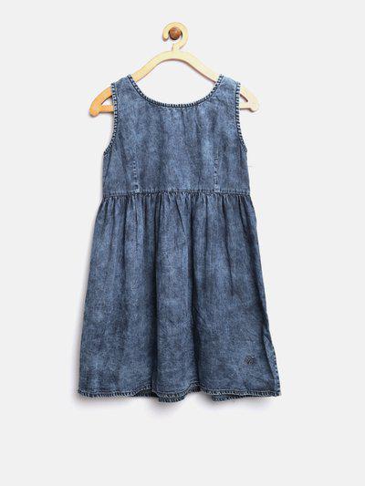 Pepe Jeans Girls Blue Solid Denim A-Line Dress