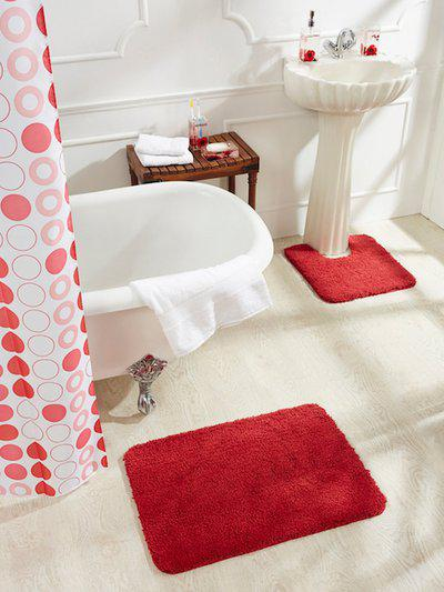 Obsessions Red Cotton Rectangular Bath Rug